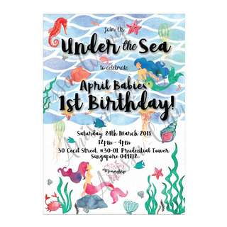 Mermaid / Under the Sea Birthday Party Invitation