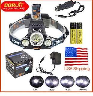 BORUiT Headlamp Xm-l 3x CREE T6 LED Headlight 18650 Light Charger Battery