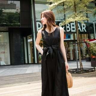 正韓BASIC黑色腰綁帶洋裝