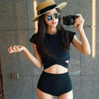 現貨黑色顯瘦短袖平口褲兩件式泳衣