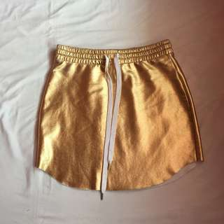 Forever 21 Mettalic Gold Faux Leather Skirt