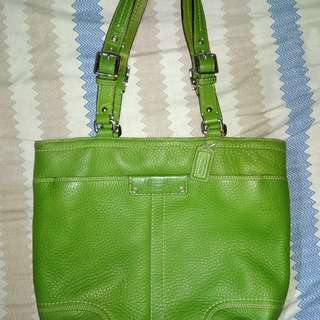 Coach Pebble leather green