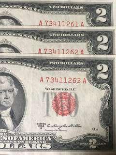 US 2 Dollars 3 Numbers Running