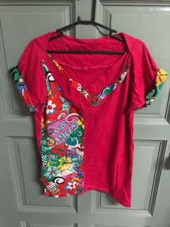 Brand new pink top worth colorful flower prints