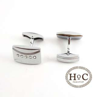Cufflinks Manset Kancing Kemeja French Cuff RECTANGLE CRYSTAL LINE WHALE BACK CUFFLINKS