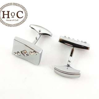 Cufflinks Manset Kancing Kemeja French Cuff RECTANGLE WAVE CRYSTAL WHALE BACK CUFFLINKS