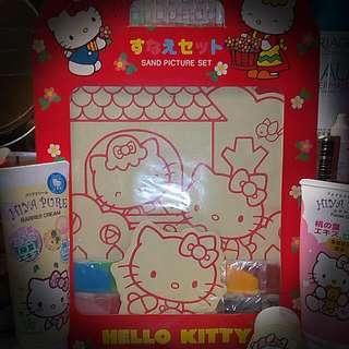 Hello Kitty Sand picture Figurine stickers set (4 items) Made in Japan.