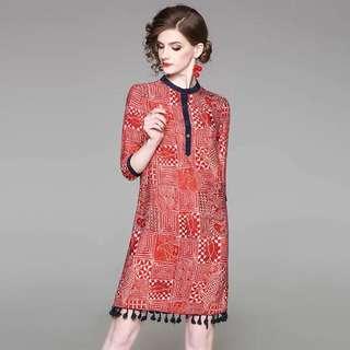100% natural silk geometric pattern loose tassel blouse dress