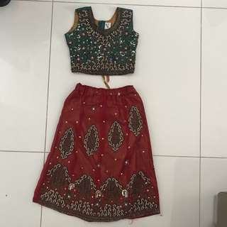 Green Red Beaded Lehenga 1-3yrs