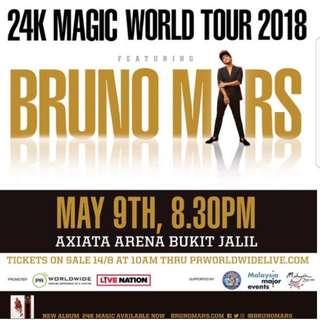 Bruno Mars CAT1 ticket Live In KL
