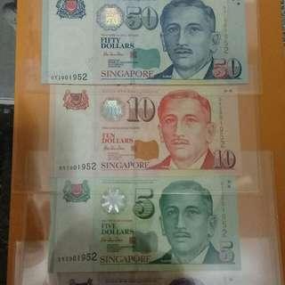 Singpore OYI~$2/$5/$10/$50/$100