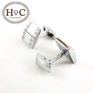 Cufflinks Manset Kancing Kemeja French Cuff SQUARE CRYSTAL SQUARE WHALE BACK CUFFLINKS