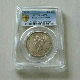 Southern Rhodesia 1939 Half Crown Key Date PCGS AU58 Silver Coin.Top grade by PCGS.