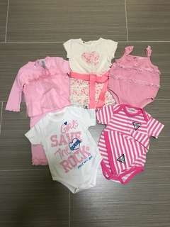 Authentic Guess Baby Girls Bodysuits (Set Of 5)
