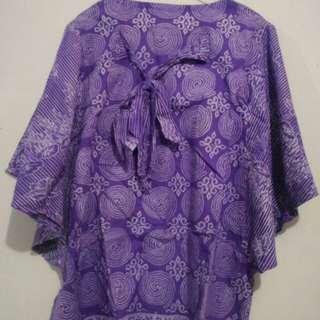 Baju batik ungu belakang pita