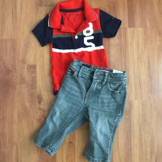 Tommy polo shirt and jeans set