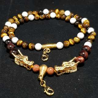Handmade Crystal Beads Amulet Necklace - Tiger Eye, Red Tiger Eye, White Marble and Sandstone - Boost Authority, Confidence, Calm Mind