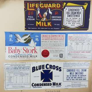 Vintage milk labels