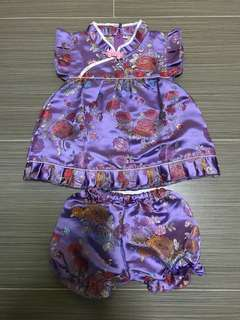 Toddler Girls Purple Chinese Cheong Sam