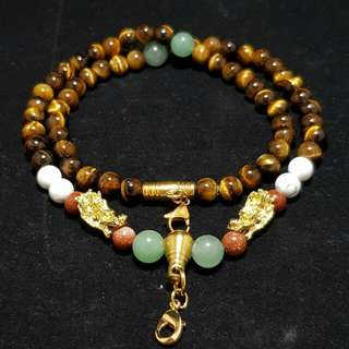 Handmade Crystal Beads Amulet Necklace - Tiger Eye, Aventurine, White Marble and Sandstone - Boost Authority, Confidence, Calm Mind