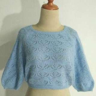Outer rajut blu wanita knit premium baby blue preloved sisa import