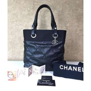 CHANEL PARIS BIARRITZ COATED CANVAS WITH LEATHER BAG