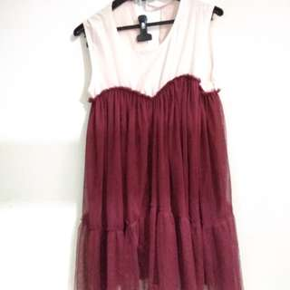 Dress maroon lucu
