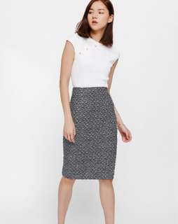 Beatryce tweed side zipper pencil skirt