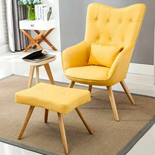 Yellow Accent Chair with foot stool