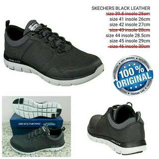 Sepatu Skechers Original Black Leather sz 41.42.44.45