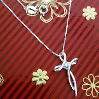 Genuine 925 Sterling Italy Silver Stylish Cross w/ Gem Stone Necklace