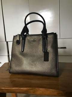 authentic coach carryall in metallic pebble leather
