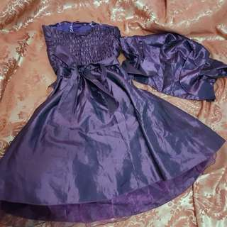 MARKED DOWN!!! SALE: Purple Satin dress with Bolero