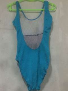 Blue and Black One-piece Swimsuit