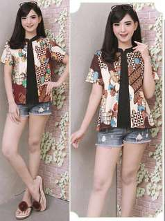 Stretch Cotton Batik Top. Comes in two shades. Chest Size 92-108cm. Length 60 cm.
