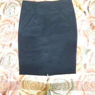 Black Corporate -Back slit Skirt