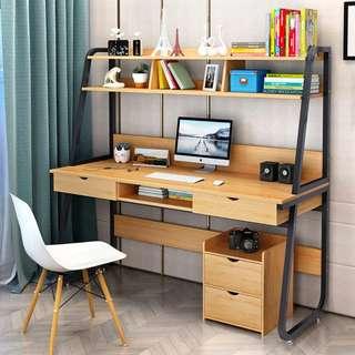 簡約現代家用台式電腦桌多功能臥室筆記本寫字書桌子書桌書架組合