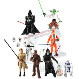 9Pcs Star War Movie Character PVC Figure Cake Topper Collection
