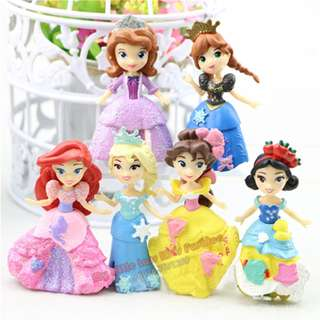 6Pcs Q Series Princess PVC Figure Cake Topper Collection