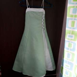 Pre-loved Kid's Gown - Green and White