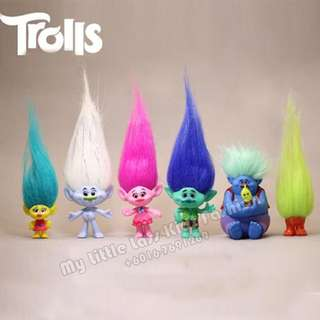6Pcs Trolls PVC Figure Cake Topper collection Mini Figure