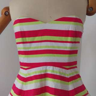 Candy stripe A-line dress with missing straps