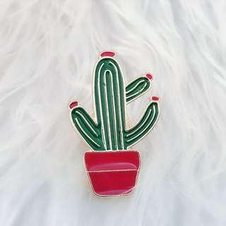 胸針 - 紅色仙人掌