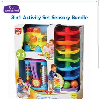 BRU 3 in 1 Activity Sensory Bundle Set 6 month plus Brand New In Box. Free Island Wide Delivery