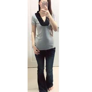 灰色蕾絲V領短袖T恤(二手)