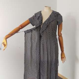 Vintage late 80's early 90's wrap around polka-dot maxi dress