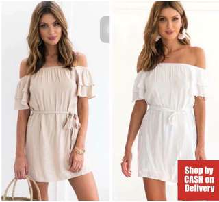 Off shoulder ruffle dress with belt