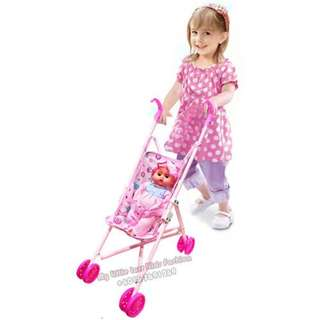 Baby Kids Doll Stroller Pretend Play Toy Baby Umbrella Trolley
