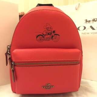 (55% Off) BNIB Coach X Disney Mini Charlie Backpack Mickey Limited Edition (red)