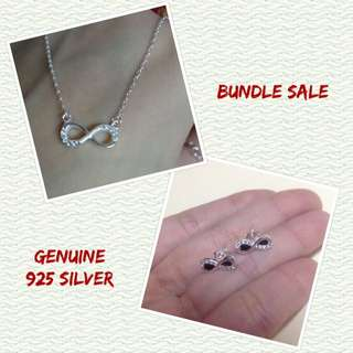 Bundle Sale Genuine 925 Sterling Italy Silver Infinity Necklace and Earrings w/ Stones Set